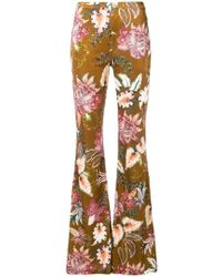 Black Coral - Flared Floral Trousers - Lyst