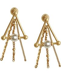 Burberry - Faux Pearl And Triangle Gold-plated Drop Earrings - Lyst