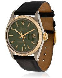 La Californienne - Gilt Green Navy Rolex Oyster Perpetual Date Two-tone Watch 42mm - Lyst