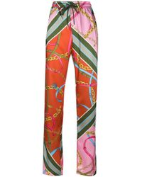 Pinko - Printed Straight Trousers - Lyst