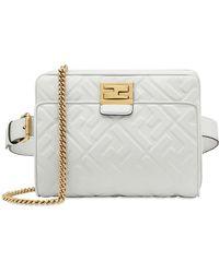 975b37afed54 Lyst - Fendi White Upside Down Flap-top Leather Belt Bag in White