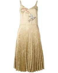 RED Valentino - Pleated Embroidered Dress - Lyst