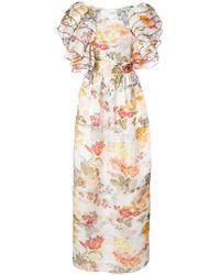 Rosie Assoulin - Floral Print Puff Sleeve Dress - Lyst