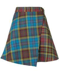 House of Holland - Tartan Mini Wrap Skirt - Lyst