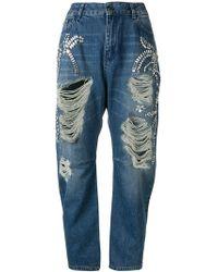 Twin Set - Distressed Twist Leg Jeans - Lyst