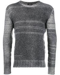 Avant Toi - Striped Rib Knit Sweater - Lyst