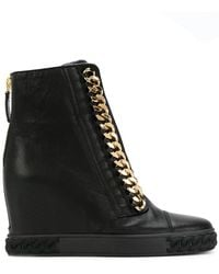 Casadei - Chain-trimmed Wedge Trainers - Lyst