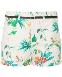 Loveless - Tropical-print Belted Shorts - Lyst