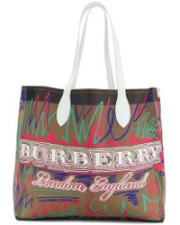 Burberry Medium Doodle Canvas Tote in White - Lyst acb2fdaf1a00e