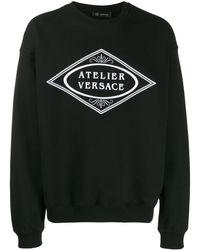 Versace Embroidered Slogan Sweatshirt - Black