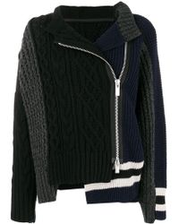 Sacai - Zipped Knit Coat - Lyst