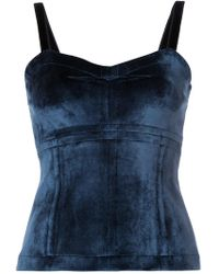 Yigal Azrouël - Top Di Velluto Effetto Bustier - Lyst