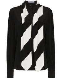 Givenchy - Silk Stripe Tie Neck Shirt - Lyst