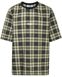 MSGM - Plaid Logo T-shirt - Lyst