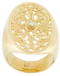 Wouters & Hendrix - Filigree Diamond Signet Ring - Lyst