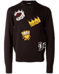Dolce & Gabbana - Royalty Knitted Patch Jumper - Lyst