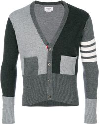 Thom Browne - Fitted waist v-neck cardigan - Lyst