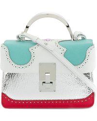 the VOLON - Brogue Detail Contrast Panel Handbag - Lyst