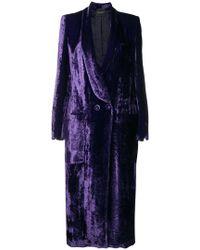 Erika Cavallini Semi Couture - Double-breasted Velvet Coat - Lyst