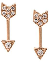 EF Collection - Mini Arrow Diamond Stud Earrings - Lyst