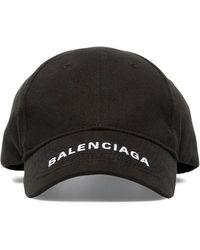 89b280645ffbe Balenciaga - Black Logo Embroidered Cotton Cap - Lyst