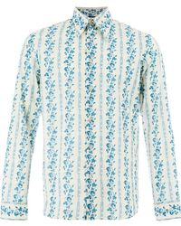 0f4d238f2 Gucci Floral Embroidered Camp Collar Shirt in White for Men - Lyst