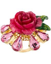 Dolce & Gabbana - Crystal Rose Ring - Lyst