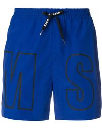 MSGM - Branded Swim Shorts - Lyst