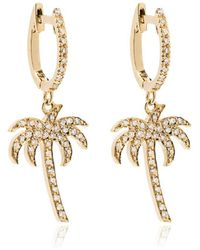 Ileana Makri 18k Yellow Gold Palm Tree Hoops With White Diamonds