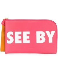 See By Chloé Logo Zipped Clutch - Pink