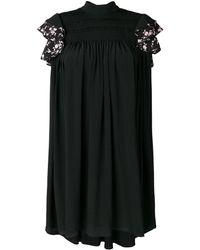 N°21 ラッフルスリーブ シフトドレス - ブラック