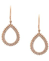 Eva Fehren - 18kt Rose Gold And Diamonds Small Drop Earrings - Lyst
