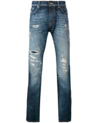7 For All Mankind - Ronnie Ripped Skinny Jeans - Lyst