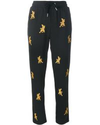 Zoe Karssen - Embroidered Cheetah Track Trousers - Lyst