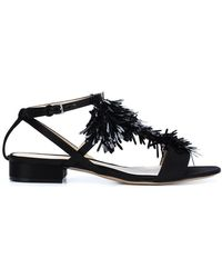 Monique Lhuillier - Hailey Leather and Silk Sandals - Lyst