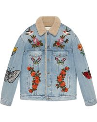 Gucci - Embroidered Denim Jacket With Shearling - Lyst