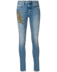 Zoe Karssen Woman Distressed Embroidered High-rise Tapered Jeans Mid Denim Size 26 Zoe Karssen tVSIfNZXhJ