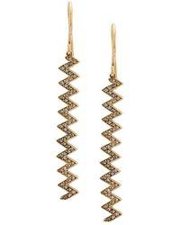 Jennifer Meyer - 18kt Yellow Gold Zigzag Drop Earrings - Lyst