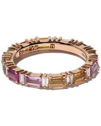 Suzanne Kalan - 18kt Rose Gold, Diamond And Sapphire Rainbow Eternity Band - Lyst