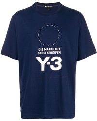Y-3 - Stacked Logo T-shirt Navy - Lyst