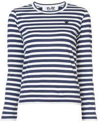 Play Comme des Garçons - Striped Heart Patch T-shirt - Lyst