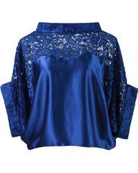 Martha Medeiros - Lace Panel Crop Blouse - Lyst