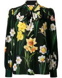Dolce & Gabbana - Floral Print Pussybow Blouse - Lyst