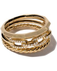 David Yurman - 18kt Yellow Gold Stax Diamond Narrow Ring - Lyst