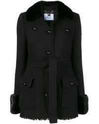 Blumarine - Fur Trim Single-breasted Coat - Lyst