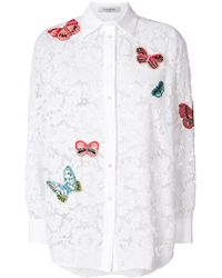 Valentino - Embroidered Butterfly Lace Shirt - Lyst