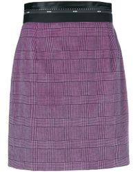 MSGM - Checked Print Short Skirt - Lyst