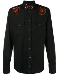 Dolce & Gabbana - Heart Patches Denim Shirt - Lyst