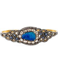 Gemco - Diamond, Opal & Sapphire Hand Bracelet - Lyst