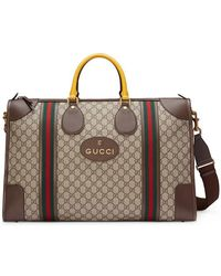 ea2af51a0ad8 Lyst - Gucci Large Suede Duffle Bag With Web in Red